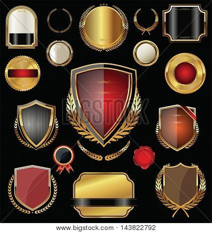 Empty Golden Shield, Badges, Labels And Laurels.eps