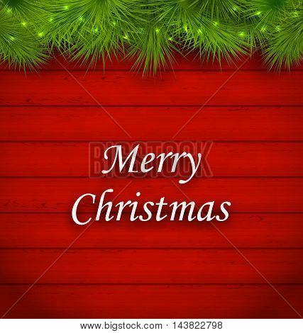 Illustration Christmas Wooden Background with Fir Twigs - Vector