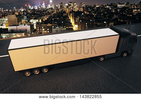Truck On Night City Background