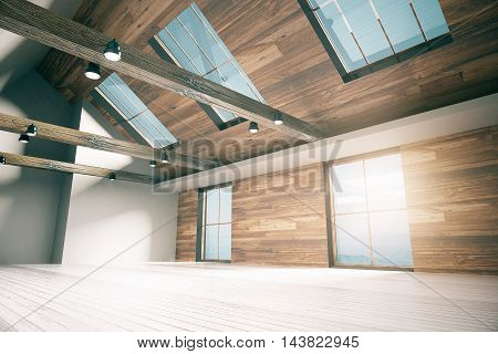Side view of loft interior design with wooden walls floor ceiling and windows with city view. Country style. 3D Rendering
