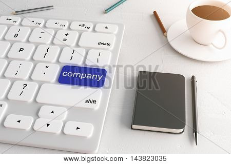 Closeup of white keyboard with blue company button on light desktop with pen pencils notepad and coffee cup. 3D Rendering