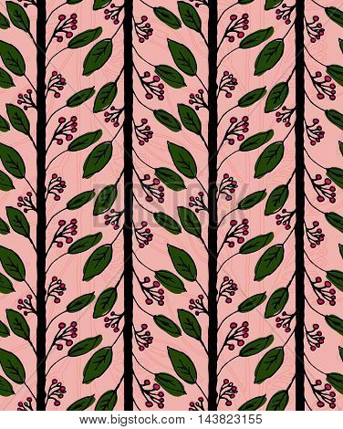 Inked Rowan With Leaves On Pink