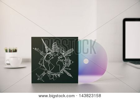 Workplace with travel sketch on CD cover. 3D Rendering