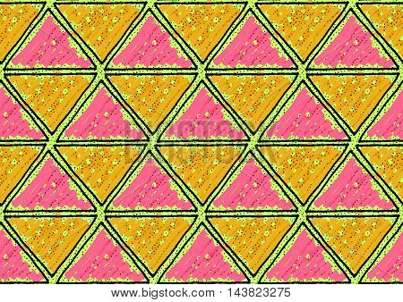 Inked Triangles Dotted Pink And Orange