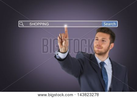 Shopping Search Engine on Visual Screen Working Businessman Conceptual