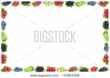 Berries Strawberries Blueberries Red Currant Grapes Frame Berry Fruits Copyspace Copy Space