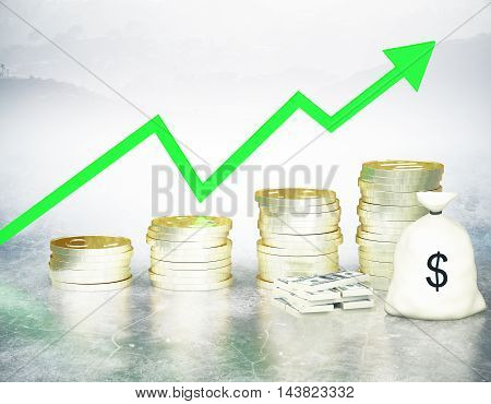 Financial growth concept with golden coin ladder green upward arrow cash stack and sack on abstract background. 3D Rendering