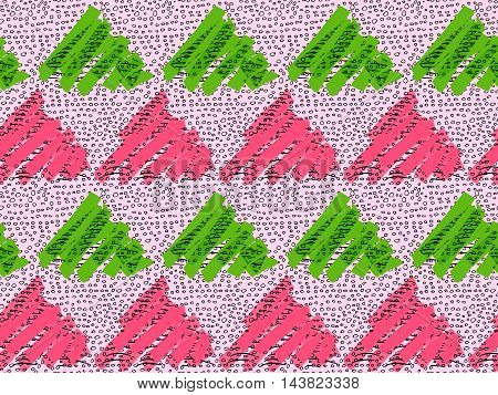 Inked Triangles Pink And Green With Circles