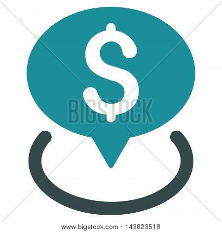 Bank Location icon. Vector style is bicolor flat iconic symbol with rounded angles, soft blue colors, white background.