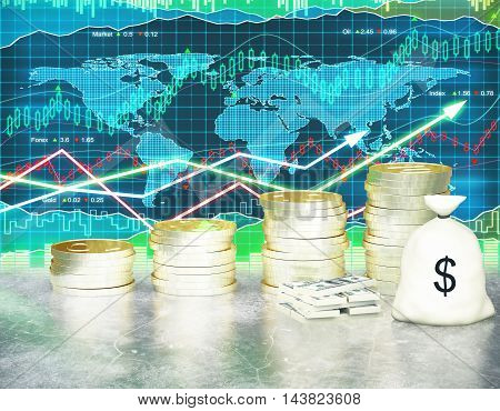 Financial growth concept with golden coin ladder cash stack and sack on forex chart background. 3D Rendering