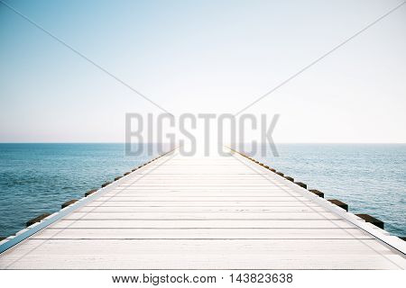 Wooden sea pier on sky clear sky background with sunlight. Mock up 3D Rendering