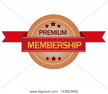 Premium membership stamp isolated on white background