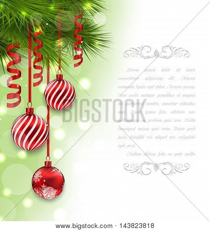 Illustration Christmas Card with Fir Branches and Glass Balls - Vector