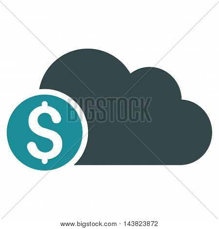 Banking Cloud icon. Vector style is bicolor flat iconic symbol with rounded angles, soft blue colors, white background.