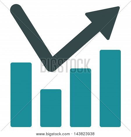 Bar Chart Trend icon. Vector style is bicolor flat iconic symbol with rounded angles, soft blue colors, white background.