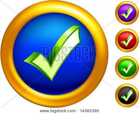 icono de la marca de verificación en botones con bordes de oro