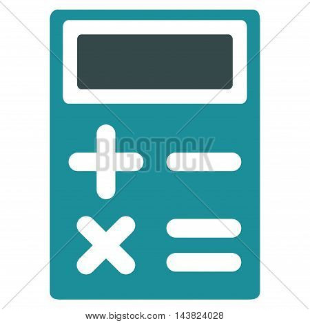 Calculator icon. Vector style is bicolor flat iconic symbol with rounded angles, soft blue colors, white background.