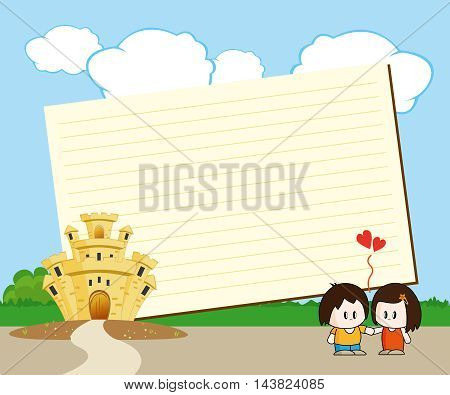 Note Card with a castle and two lovers