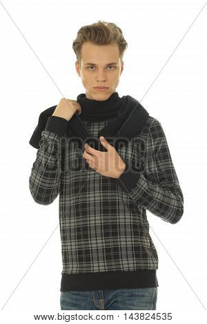 Casual handsome man looking at camera isolated