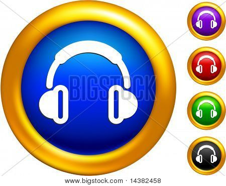 headphones icon on buttons with golden borders