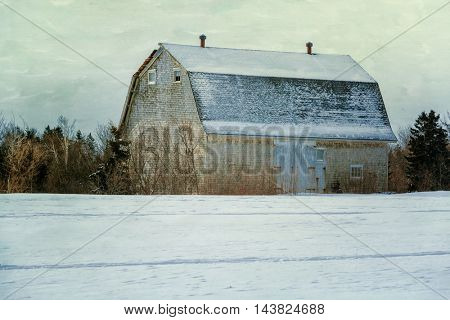 Old rustic barn with a texturized effect.