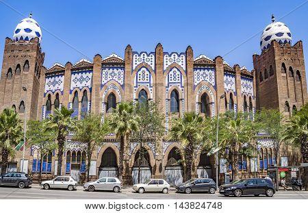 BARCELONA SPAIN - JULY 5 2016: Bullring and bullfighting arena Plaza Monumental de Barcelona (La Monumental)