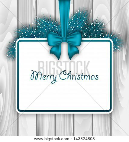 Illustration Merry Christmas Elegant Card with Bow Ribbon and Pine Branches, on Wooden Background - Vector