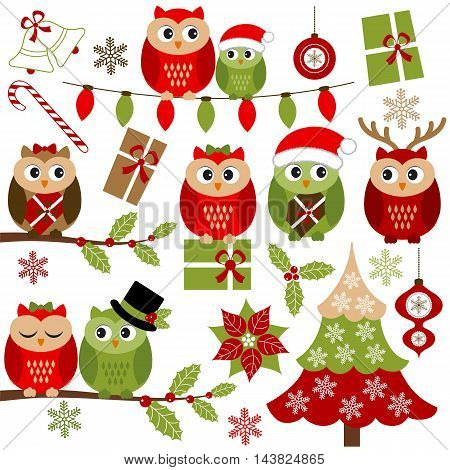 Vector Christmas owls set with holly branches Christmas tree and gifts