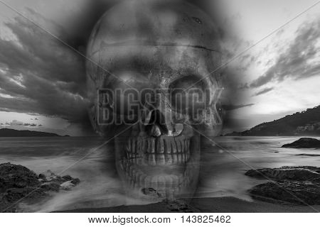 Skull on a sea sad and bad weather background concept halloween background
