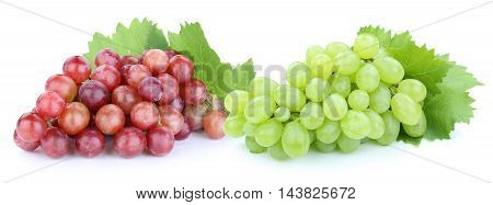 Grapes Red Green Fruits Fruit Isolated On White