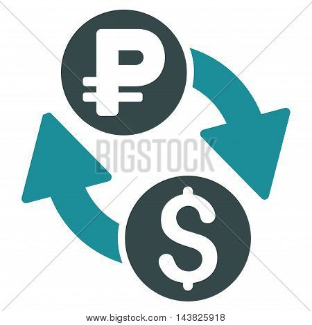 Dollar Rouble Exchange icon. Vector style is bicolor flat iconic symbol with rounded angles, soft blue colors, white background.