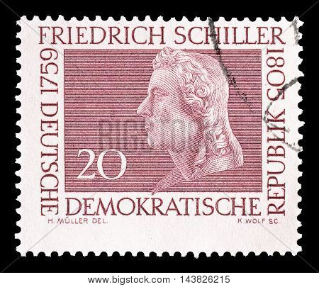 GERMAN DEMOCRATIC REPUBLIC - CIRCA 1955 : Cancelled postage stamp printed by German Democratic Republic, that shows Friedrich Schiller.