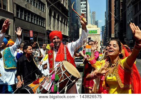 New York City - August 9 2009: Drummers and dancers at the India Day Parade on Madison Avenue
