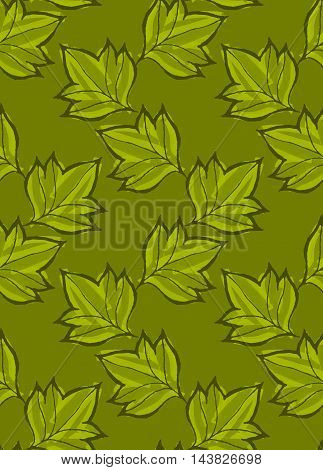 Pointy Leaves On Green Marker Brushed