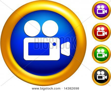 video camera icon on buttons with golden borders