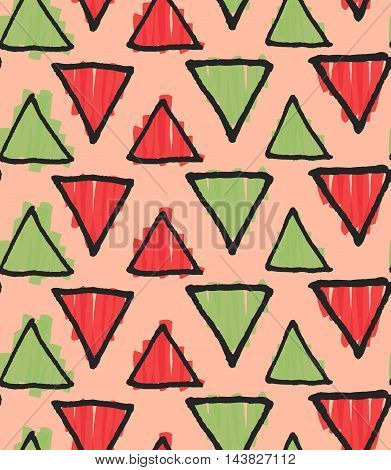 Rough Triangles Marker Colored On Pink