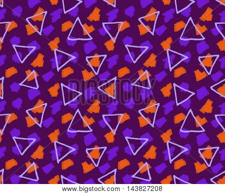 Rough Triangles Textured With Marker Brushes Purple And Orange