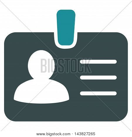 Person Badge icon. Vector style is bicolor flat iconic symbol with rounded angles, soft blue colors, white background.