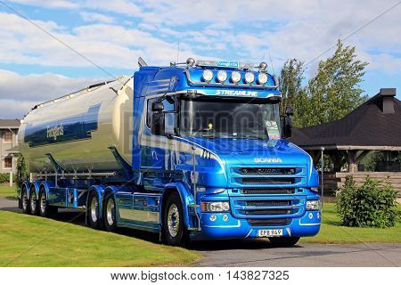 ALAHARMA, FINLAND - AUGUST 12, 2016: Blue Scania T580 semi tank truck year 2015 of Ab Bengt Forsgards Akeri on display on the annual trucking event Power Truck Show 2016 in Alaharma Finland.