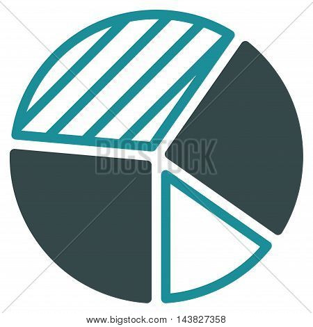 Pie Chart icon. Vector style is bicolor flat iconic symbol with rounded angles, soft blue colors, white background.