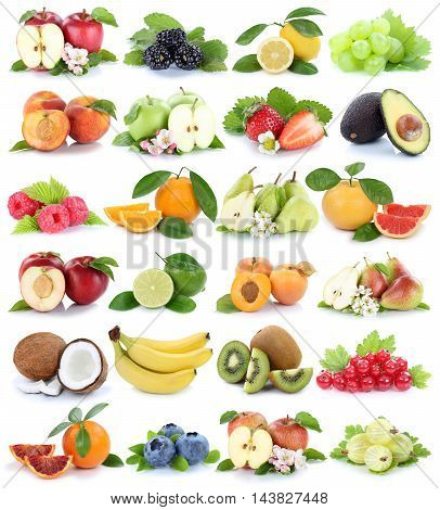 Fruits Fruit Collection Orange Apple Apples Banana Strawberry Pear Grapes Isolated On White