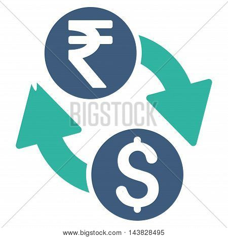 Dollar Rupee Exchange icon. Vector style is bicolor flat iconic symbol with rounded angles, cobalt and cyan colors, white background.