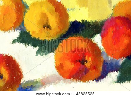 Abstract Oil Painted Apples