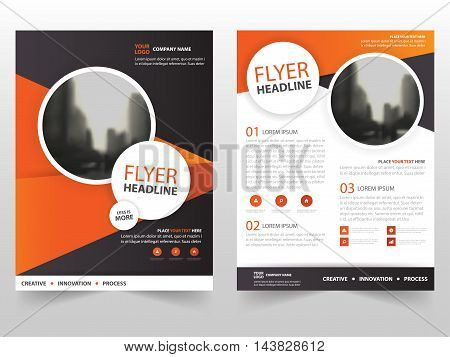 Orange black triangle vector Brochure Leaflet Flyer template design book cover layout design abstract business presentation template a4 size design