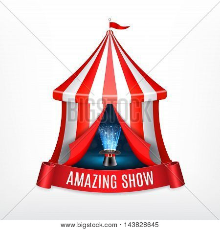 Conjurer hat with magical glow inside circus tent. Circus concept. Vector icon. EPS10 vector