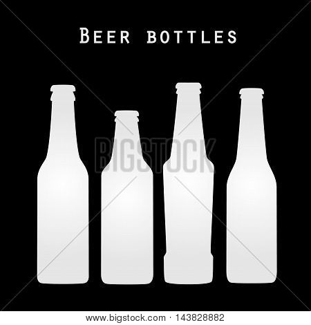 Set of four white beer bottles in flat style