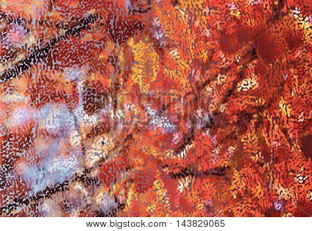 Mosaic Red Fall Leaves