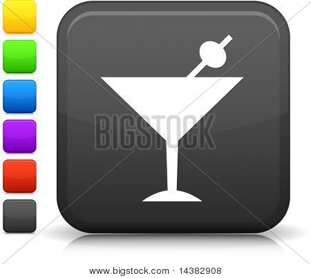 martini drink icon on square internet button  Six color options included.