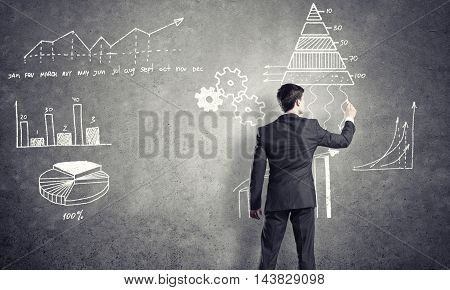 Rear view of businessman drawing chalk business sketches on wall