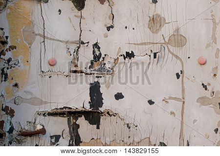 Chipped paint grunge wood texture with rusty nails and pins. Abstract background.